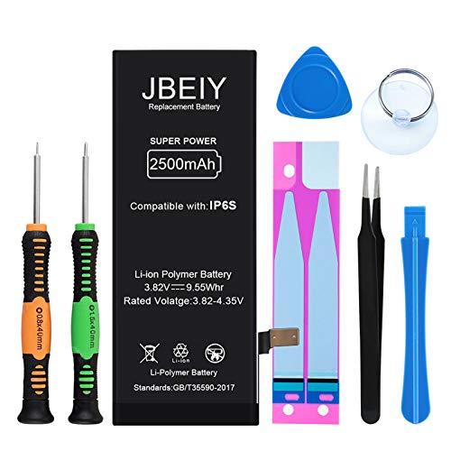 JBEIY Neu Akku für i-Phone 6S, 2500mAh Hoher Kapazität Ersatzakku, mit Professionell Reparatursatz und Englisches Anweisungen-1 Jahre Garantie