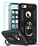 LeYi iPhone se Case (2016), iPhone 5s Case, iPhone 5 Case with Tempered Glass Screen Protector [2Pack], Military-Grade Phone Case with Ring Magnetic Car Mount Kickstand for iPhone 5/5s/se, Black