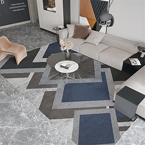 Alfombra alfombras Pelo Corto Fácil de Limpiar Azul Gris Negro diseño geométrico sin resbalón Alfombra alfombras de habitacion Juvenil Alfombra niños habitacion 50*120CM