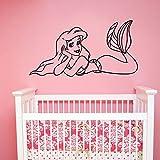 Tianpengyuanshuai Meerjungfrau Wandtattoo Prinzessin Mädchen Vinyl Aufkleber Dekoration für Familie Mädchen Baby Schlafzimmer Badezimmer Cartoon Dekoration 102x54cm