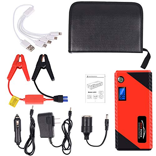 Lowest Price! CWWHY 12V Portable Car Jump Starter, Peak 1200A 20000 Mah Auto Battery Booster Power B...