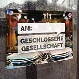 Schönes Hinweis- Schild: Geschlossene Gesellschaft mit Datumsfeld