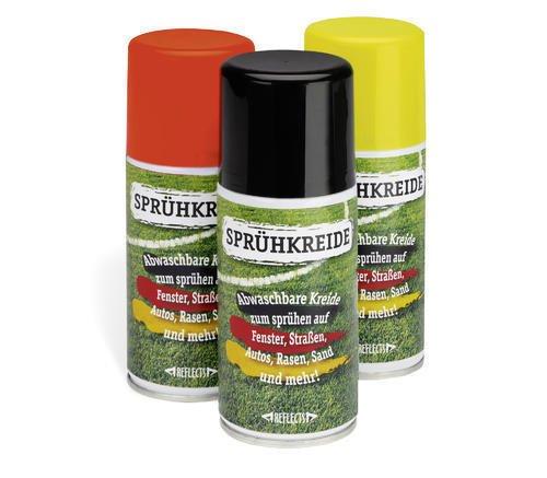 REFLECTS Sprühkreide abwaschbar Set, Kreidespray schwarz, rot und gelb, Fanartikel Markierungsspray Abstandsmarkierer 3 Farben