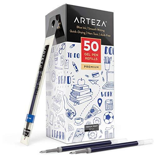 Arteza Recambios de bolígrafo de gel azul   Paquete de 50 recargas de bolígrafo de tinta de gel azul   Secado rápido, sin tóxicos   Punta fina para escribir, tomar notas y dibujar
