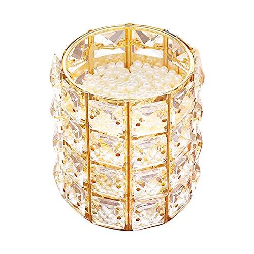 Soporte de cepillo de maquillaje de cristal Organizador de cepillo cosmético con perlas Soporte de lápiz de metal Tocador Organizador de almacenamiento Portavasos de lápiz para escritorio Niñas dorado
