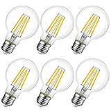 LVWIT Bombillas Globo de Filamento LED E27 (Casquillo Gordo) - 8W equivalente a 60W, 806 lúmenes, Color blanco cálido 2700K....