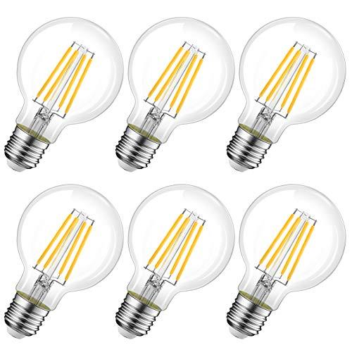 LVWIT Bombillas Globo de Filamento LED E27 (Casquillo Gordo) - 8W equivalente a 60W, 806 lúmenes, Color blanco cálido 2700K. Bombilla retro vintage, No regulable - Pack de 6 Unidades.