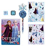 FROZEN JOURNAL WITH STICKERS - Complete Frozen journal set includes: Frozen 2 themed diary (5 in x 7 in, 60 sheets) with snowflake lock and 2 keys, Olaf pom pom pen, stamp pad, stamper and 2 Frozen sticker sheets ELSA SECRET DIARY - New! These diary ...