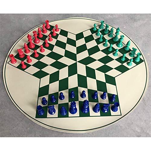 WAYYQX Schachspiel aus Holz Schach-Set 65cm Schachbrett Spiel PVC-Schachbrett König High 77mm Schachfiguren 3-Personen-mittelalterliche Schäkeln Games Checker Schachfiguren Set (Color : Green)