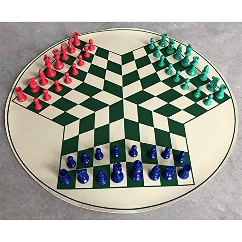 WAYYQX Schachspiel aus Holz Schach-Set 65cm Schachbrett Spiel PVC-Schachbrett König High 77mm Schachfiguren 3-Personen-mittelalterliche Schäkeln Games Checker Schachfiguren Set (Color : Green)