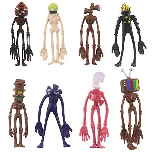 8Pcs Siren Head Toys, Cartoon Animal Figure Horror Model Doll Set, Boys Scary Toys, Horror Monster for Kids Children Birthday Gift