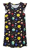 UNIFACO Girl Nightie Galaxy Planet Stars Printed Nightgowns Summer Flutter Sleeve Nightdress