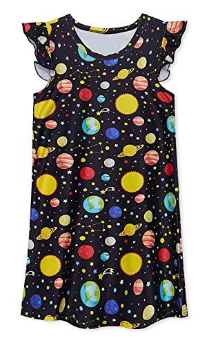 Funnycokid Mädchen Prinzessin Nachthemden Kinder Kleider Nachthemd Planet Universum Rüschenärmel Nachthemd Nachtwäsche Schlafanzug Pyjama Kleid für 7-8 Jahre,M