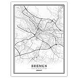 Leinwand Bilder,Deutschland Bremen Stadtplan Poster,