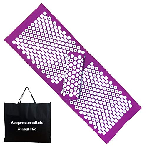 Yoga Acupressure Mat and Pillow Set with Bag  Larger Size 492 X 169 inch Massage Acupuncture Mat  Naturally Relax Back Neck and Feet Muscles  Stress and Pain Relief Purple