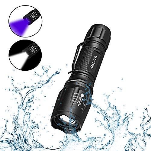Linterna LED Luz UV y Blanco 2 en 1,AveDistante Linterna Ultravioleta Recargable Linterna Tácticas con Funcion de Agrandar y Enfocar 5 Modos para Lluminación...