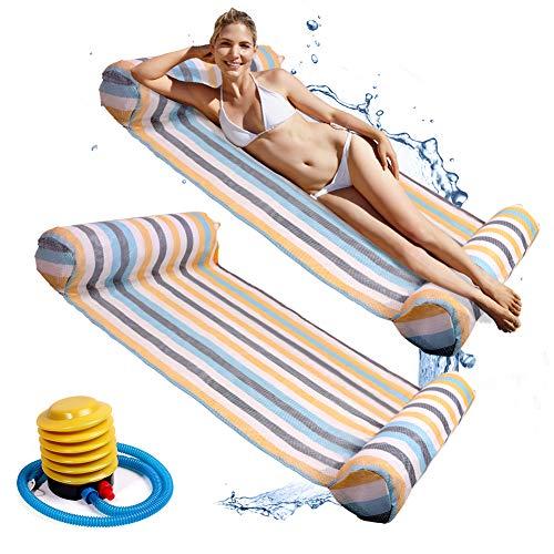NZQXJXZ Hamaca de agua con bomba de aire, 2 unidades, hamaca flotante, balsas inflables, piscina, aire ligero, silla flotante compacta y portátil para adultos y niños