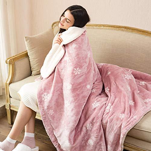 ASDFGH Flanell Warm-up-Decke Heizdecke, Weiches Gemütlich Knie-Decke Wärmedecke elektrisch Einzelne heizdecken-Rosa 90x165cm(35x65inch)