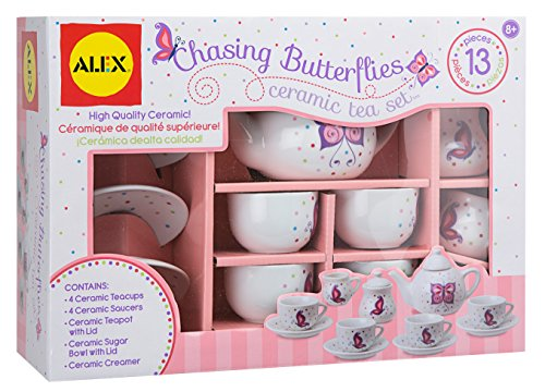 Alex Chasing Butterflies Ceramic Kids Tea Set, 13 Piece