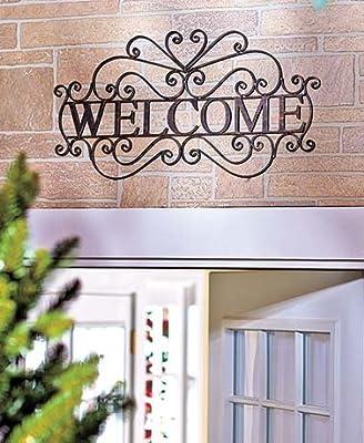 Ct Discount Store Welcome Wall Door Plaque Sign Decorative Metal Ornate Bronzed Coloring Entryway Indoor/outdoor