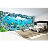 Mural 3D Wallpaper Picture World Dolphin 3D Acuario Pintura decorativa 3D Mural Wallpaper Wall 3D 400x280cm