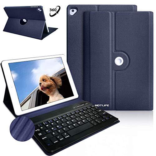 COO Funda con Teclado iPad 9.7, Cubierta con Teclado Español Bluetooth Desmontable para iPad 2017 9.7, iPad 2018, iPad Pro 9.7, iPad Air 2/1 con 360 Grados Soporte Giratorio (Azul Oscuro)