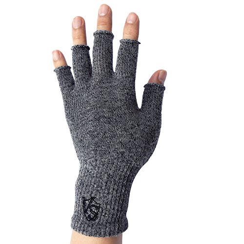 Vital Salveo - Stretchy Unisex Half Finger Texting Circulation Fingerless Recovery Gloves (Pair)-Large-Light Grey