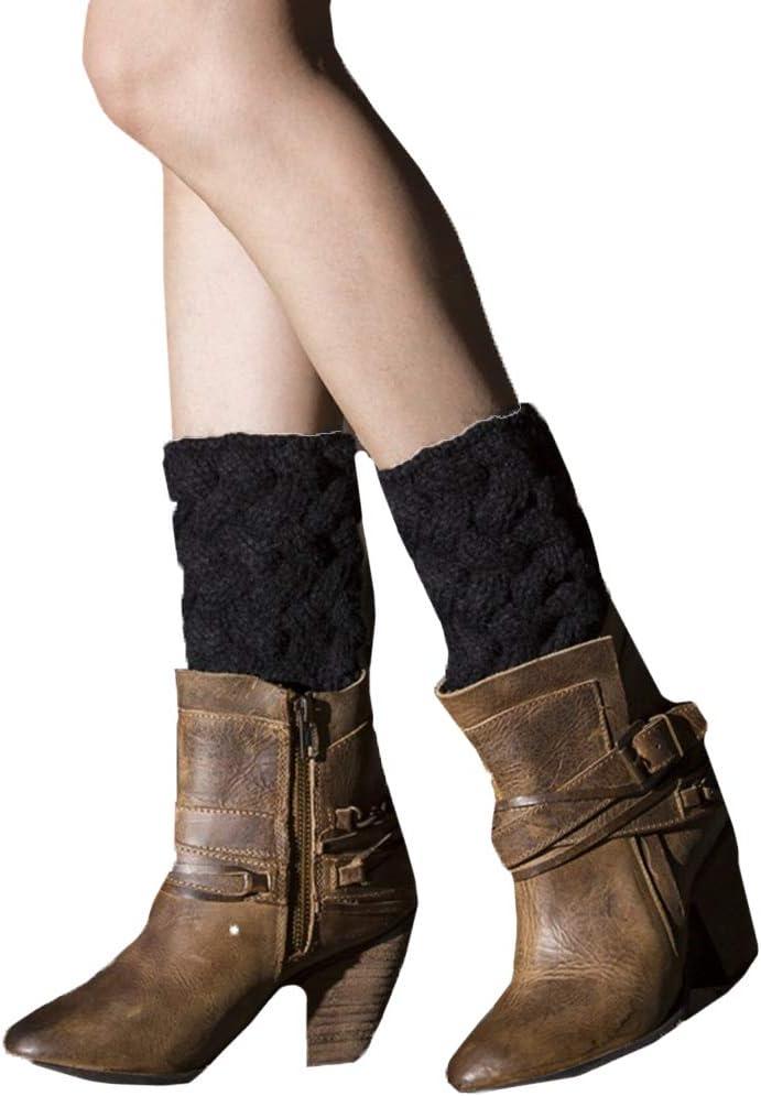 YONKINY Gu/êtres Jambi/ères en Laine Tress/és Femme Hiver Chaude Mode Confortable Chaussettes Tricots Legging Boot Cover Legwarmer