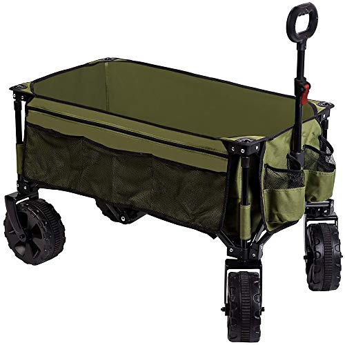 Timber Ridge Folding Wagon Collapsible Utility Outdoor Cart for Camping/Garden/Beach/All Terrain, Side Bag & Cup Holders, Green