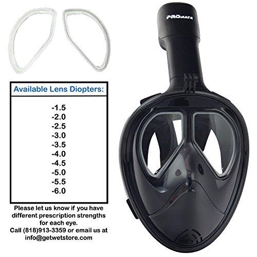 Nearsighted Prescription Full Face Snorkel Mask_Blk/Blk_L/XL_-2.5