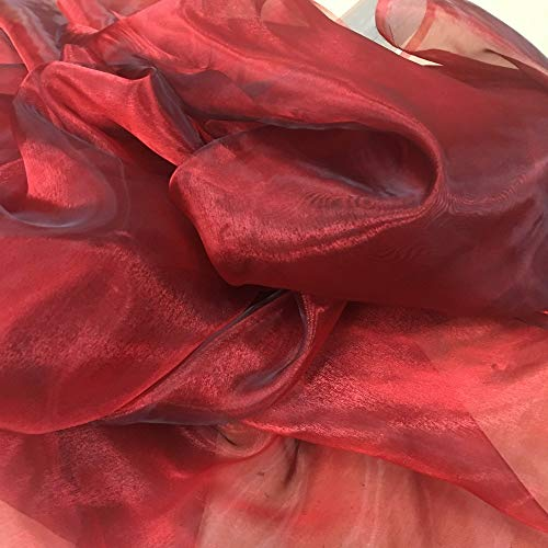 Claret Red Plain Organza Voile Fabric Per Metre by