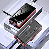 20000mAh Power Bank Full Mirror with 4 Charging Cable Fast Phone Charger External Battery Powerbank Portable Charger 4 Devices Compatible with iPhone Pro iPad Samsung Nintendo Switch Tablet