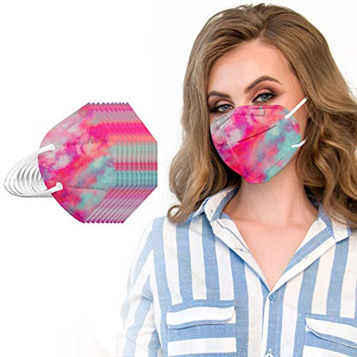 25PC FDẴ Certified Disposаble_𝙉𝟵𝟱_Mẵsk, 5 Layers Cup Dust Safety Non-Woven Face_Masks for Coronàvịrụs Protectịon with Fịlter Efficịency≥95% Protectịon for Adult Men Women Outdoors Tie Dye