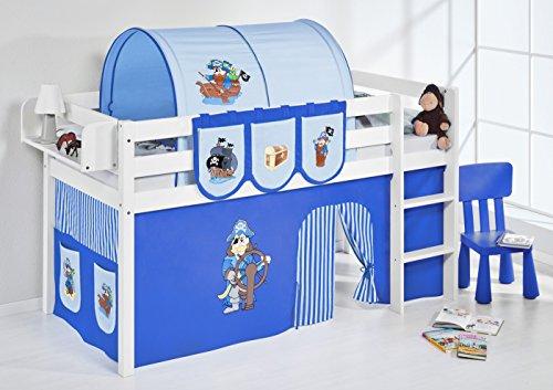 Lilokids Spielbett Jelle Pirat, Hochbett mit Vorhang Kinderbett, Holz, blau, 208 x 98 x 113 cm
