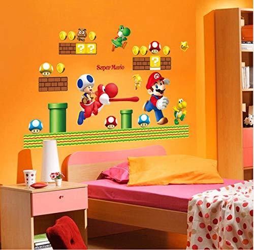 Adhesivo mural Super Mario Bros Wall Stickers Art Cartoon Stickers murales para las habitaciones de los niños Baby Room Decoración de la casa Papel de pared Póster adhesivos 3D &