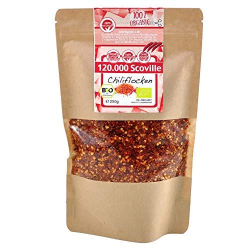 direct&friendly Bio Chili getrocknet extra scharf geschrotet Chiliflocken 120.000 Scoville (250 g)