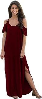 Womens Summer Short Sleeve Solid Dress Sling Cold Shoulder Beach Split Long Dress