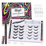 Magnetic Eyelashes Eyeliner Kit,3D False Magnetic Liquid Eyeliner 2pcs(Black+White),Upgraded Waterproof Reusable,10 Styles Soft Eyelashes , Remover Sticks and Professional Tweezers