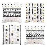 Bonhause Juego de 4 Funda de Cojín 45x45cm Boho Rayas Geométrico Terciopelo Suave Fundas de Almohada para Cojines Decorativos para Exterior Sofá Cama Coche Hogar