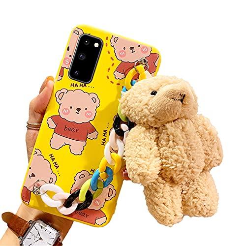 Funda para teléfono móvil compatible con Samsung Galaxy S21, funda ultra suave, de silicona TPU, resistente a los arañazos, con pulsera multicolor y ositos de peluche, para mujeres (amarillo)