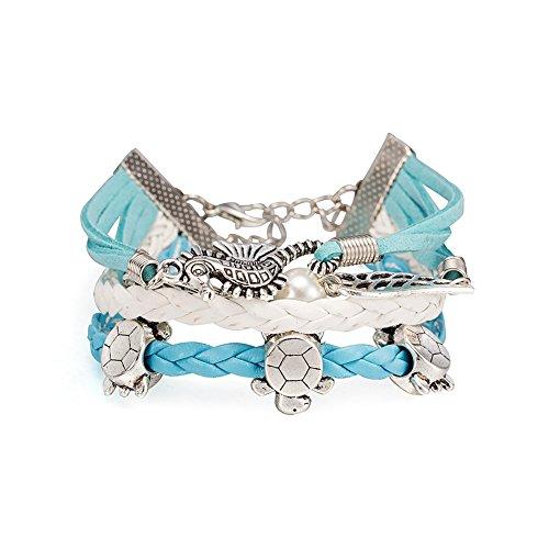 iLove EU Schmuck Freundschaft Armband Armreif Legierung Leder Seil Silber Weiß Blau Hippocampus Schildkröte Engel Flügel Perle Kugel Vintage Charm Damen