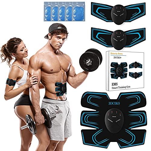 zociko EMS Electroestimulador Muscular Abdominales, Electroestimulacion Estimulación ABS Trainer para Abdomen/Brazo/Piernas/Cintur con 10PCS Reemplazo Gel Pad, Hombre y Mujeres