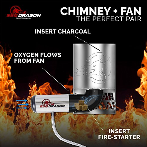 BBQ Dragon Chimney of Insanity Charcoal Starter - The Fastest and Easiest Charcoal Chimney Starter for BBQ Grills