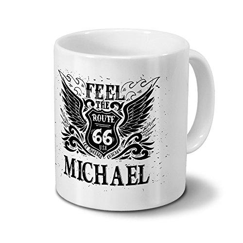 Tasse mit Namen Michael - Motiv Route 66 - Namenstasse, Kaffeebecher, Mug, Becher, Kaffeetasse - Farbe Weiß