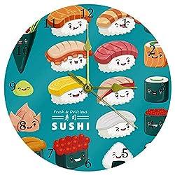 DEYYA Japan Sushi Blue Round Acrylic Wall Clock Silent Non Ticking Art Decorative for Home Office School