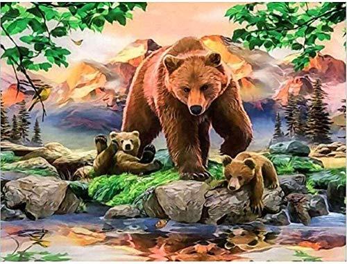 Kit de pintura de diamante 5D para adultos, con diseño de oso y árbol de flores, para manualidades, con diamantes de imitación, kit de punto de cruz, decoración de pared, 30 x 40 cm