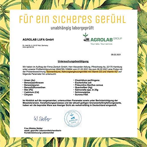 Vitamin D3 K2 Tropfen hochdosiert und vegan - 100% pflanzlich (ohne tierisches Lanolin) - 1000 IE Vitamin D vegan & Vitamin K2 - Sonnenfreund D3K2 Öl geprüft & hergestellt in Deutschland - 8