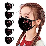 5 pezzi paradenti per bambini, multifunzionali, con stampa a farfalla, lavabile, riutilizzabile, in cotone, per bocca e naso, traspirante, per ragazzi e ragazze (rosso)