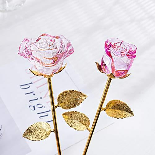 HDCRYSTALGIFTS - Juego de 2 Rosas de Cristal románticas para el día de San Valentín, Día de la Madre, Aniversarios, cumpleaños, Bodas, Navidad, Color Rosa