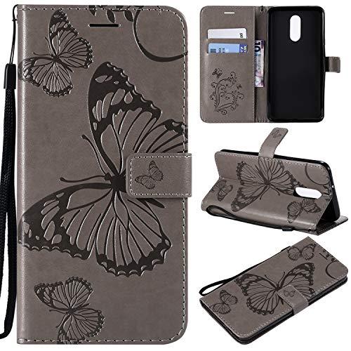 LG Stylo 4 Hülle, LG Stylo 4 Plus Brieftaschen-Schutzhülle, LG Q Eingabestift mit Kartenfächern, Leder Folio Flip PU Handy Schutzhülle für LG Stylo 4/LG Q Stylus mit Ständer, grau
